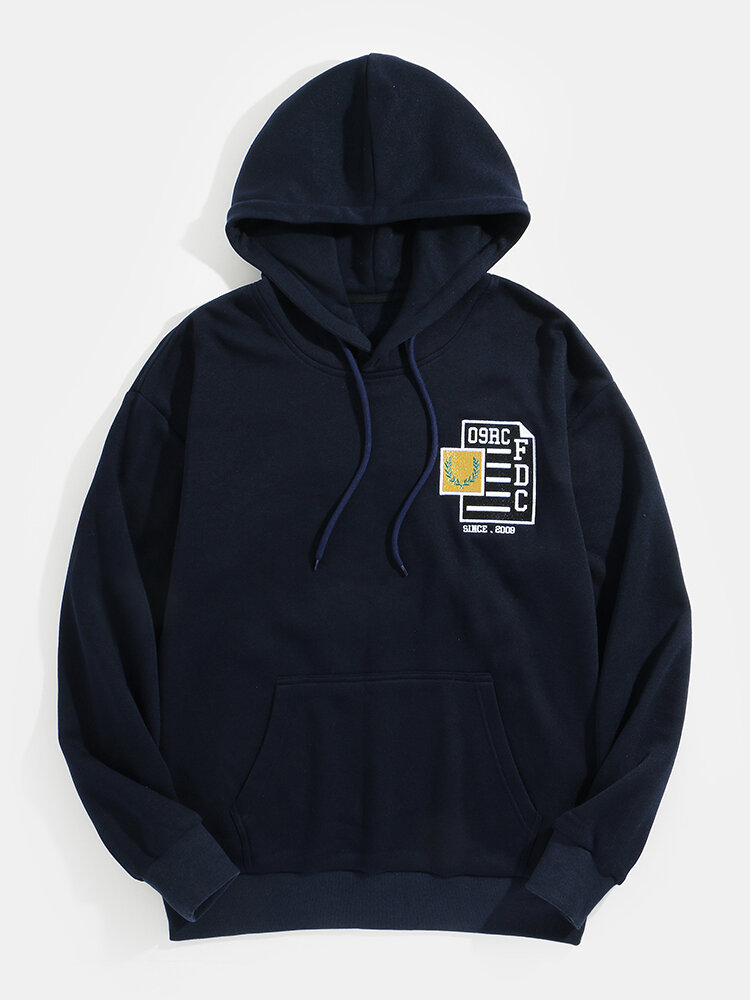 Mens Front And Back Pattern Embroidery Casual Drawstring Hoodies