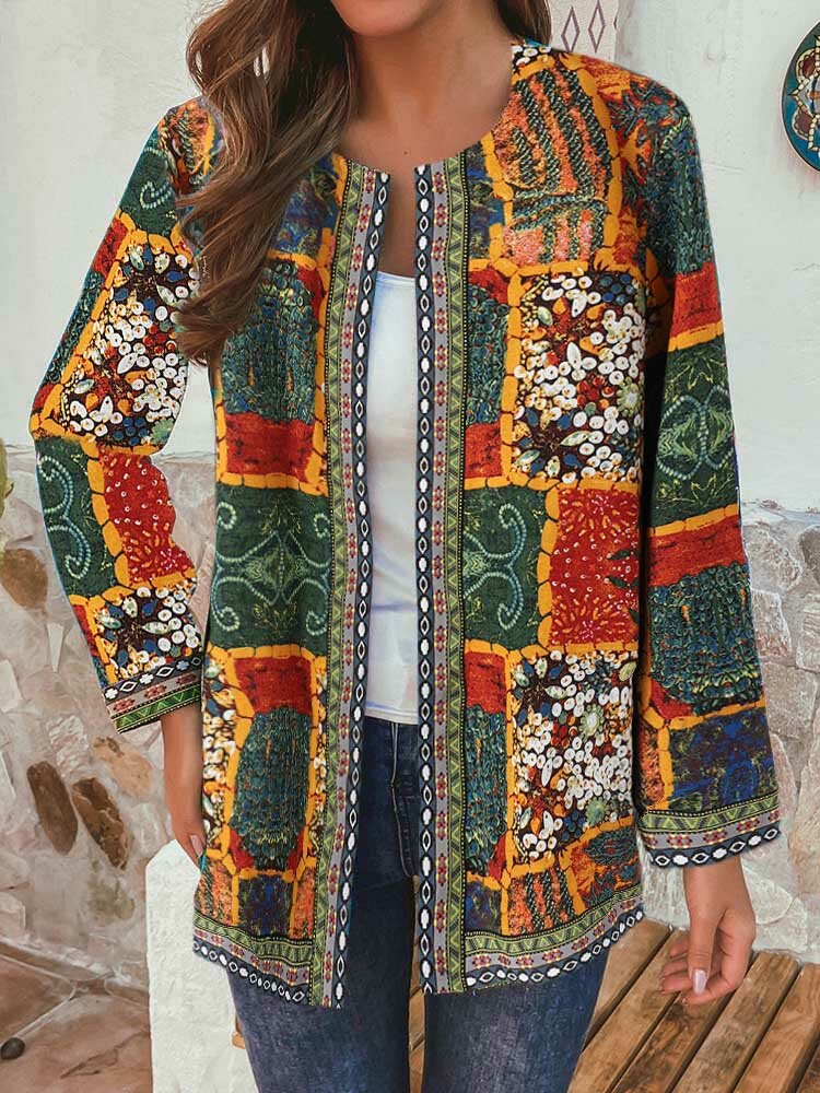 Vintage Ethnic Style Floral Print Patchwork Jackets With Pockets For Women