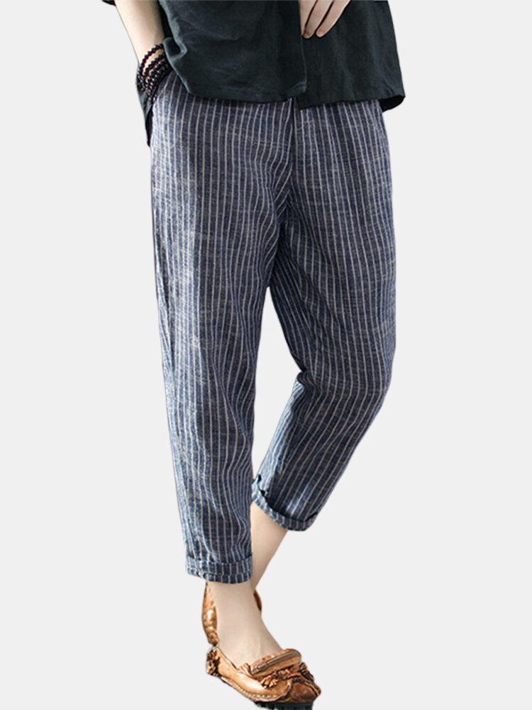 Vintage Striped Pockets Cotton Harem Pants