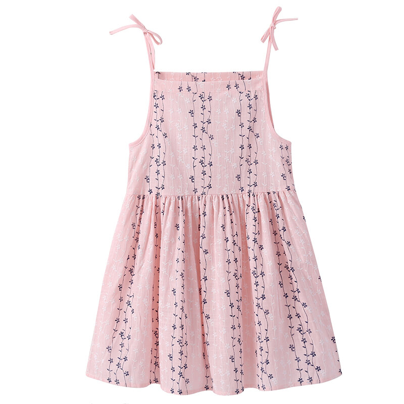 Leisure Style Toddler Girls Kids Sleeveless Strap Cotton Casual Dress For 2Y-11Y