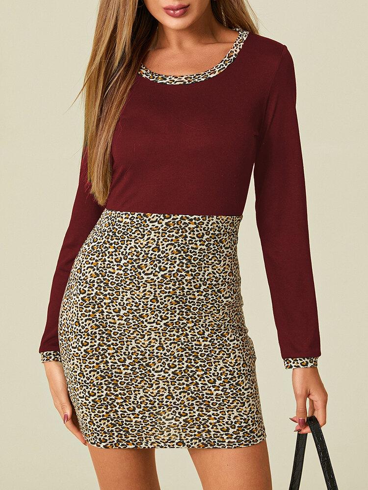Leopard Patchwork Long Sleeve O-neck Print Dress For Women
