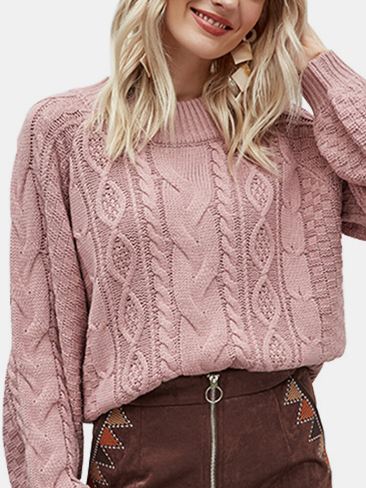 Round Neck Long Sleeve Knitting Pullover Chunky Sweater