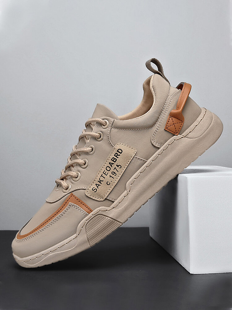 Men Breathable Printing Lace-up Round Toe Casual Canvas Flats