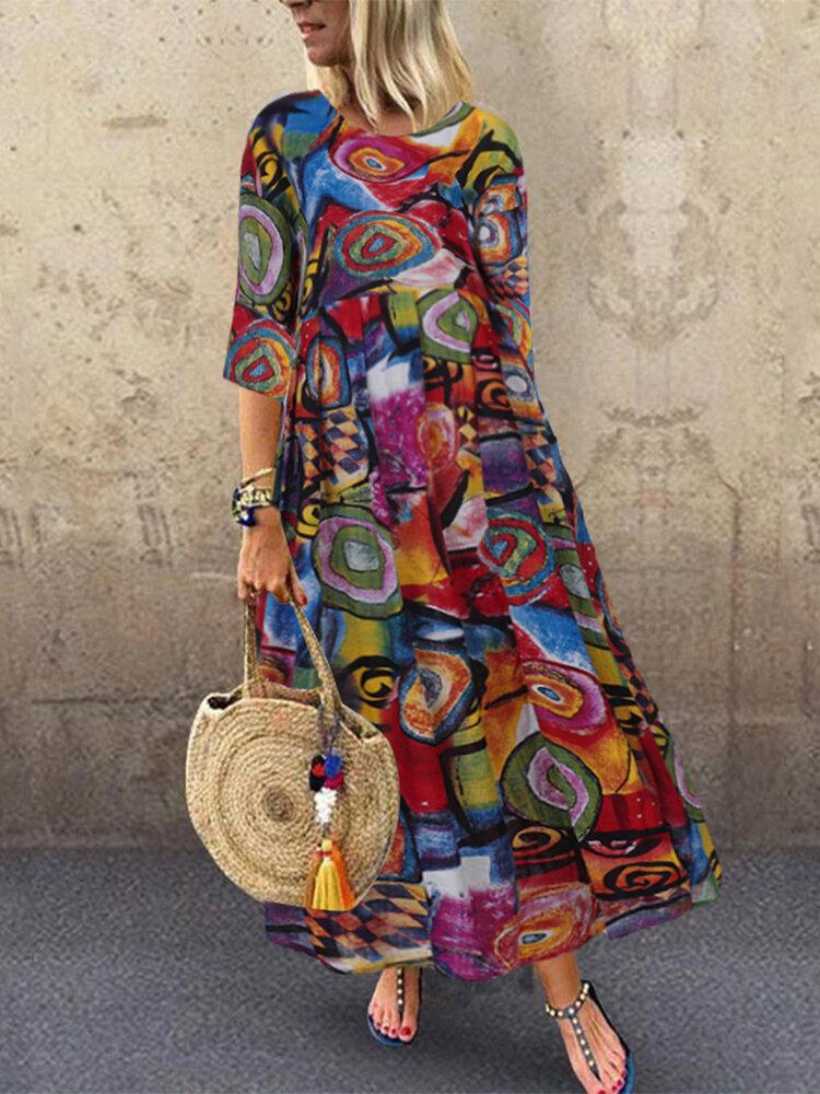 Graffiti Print O-neck Plus Size Loose Dress