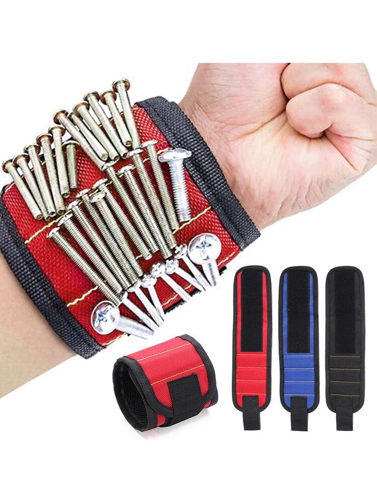 1Pc Tornillo Soporte de tijera herramienta Almacenamiento de muñeca Pulsera magnética fuerte herramientakit Correa de muñeca de calidad