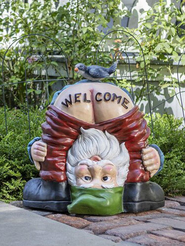 鳥の像の樹脂の庭の芝生の正面玄関の装飾が付いているGnomeの小人から面白い臀部の歓迎のズボン