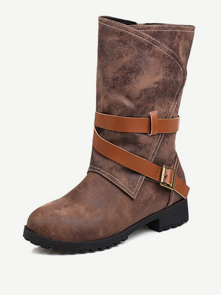 Women Casual Stitching Buckle Side Zipper Low Heel Mid Calf Boots