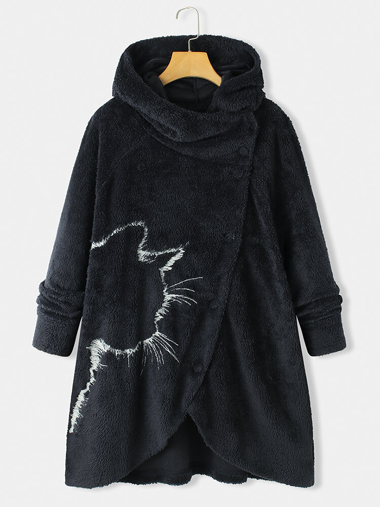 Irregular Open Cat Printed Long Sleeve Hooded Casual Plus Size Coat