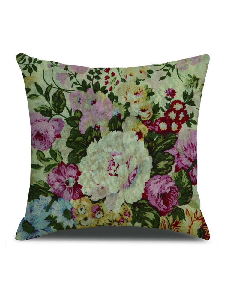 Vintage European Style Linen Cushion Cover Home Sofa Office Waist Throw Pillowcases Art Decor