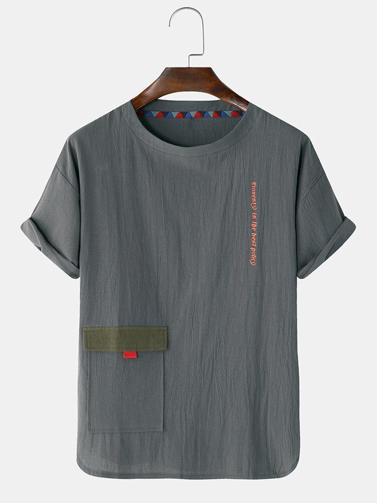 T-shirts légers respirants et minces à imprimé de caractères de couleur unie pour hommes