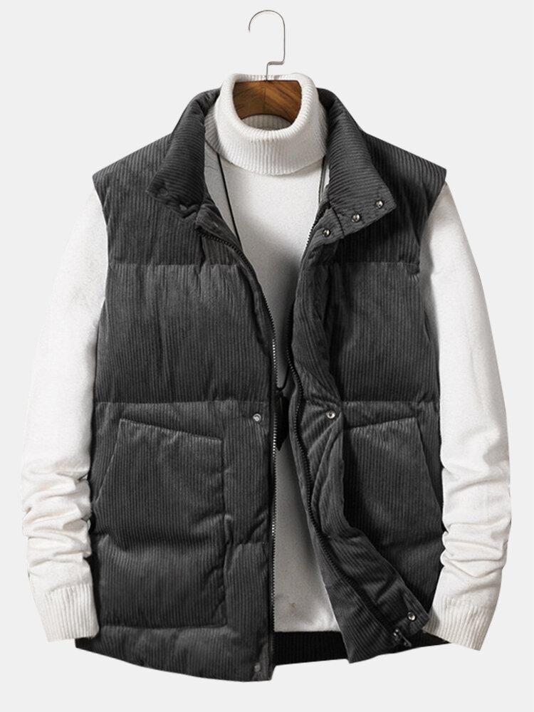 Mens Corduroy Zip Front Stand Collar Solid Warm Vests Gilet With Pocket