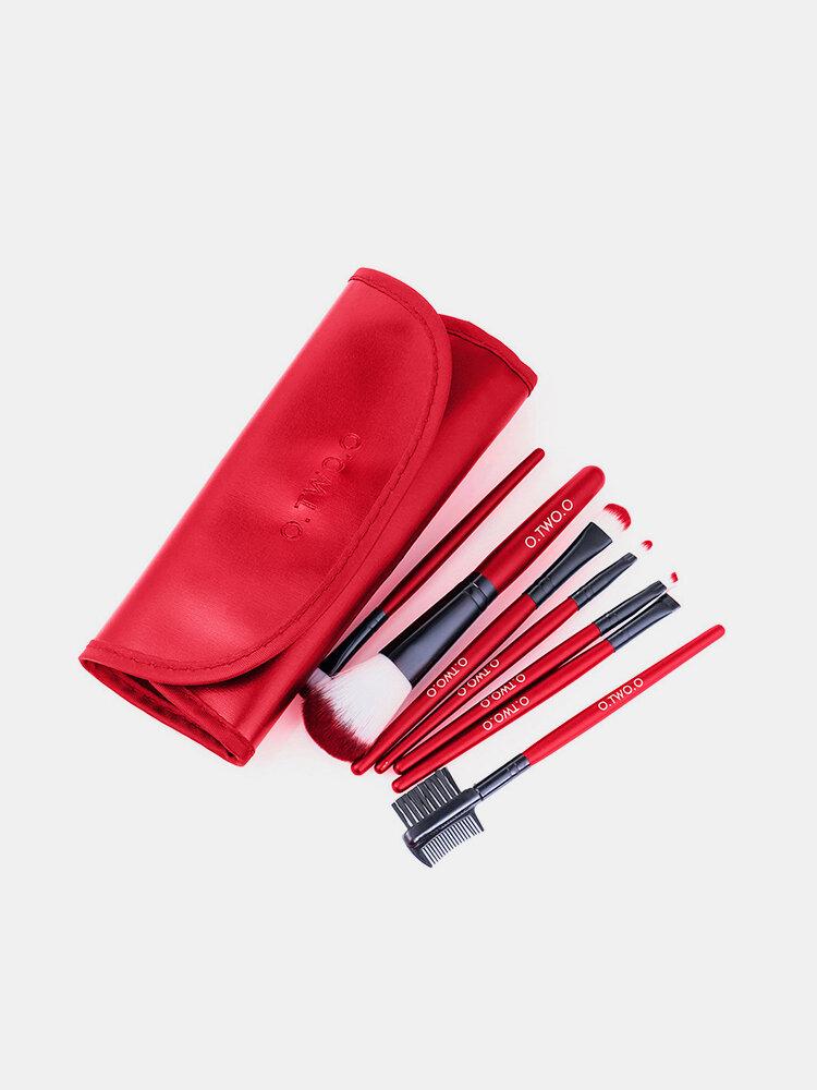 Hot Red Makeup Brush Set 7Pcs Face Eye Makeup Brush Kit Soft Hair Multifunctional Cosmetic Brush