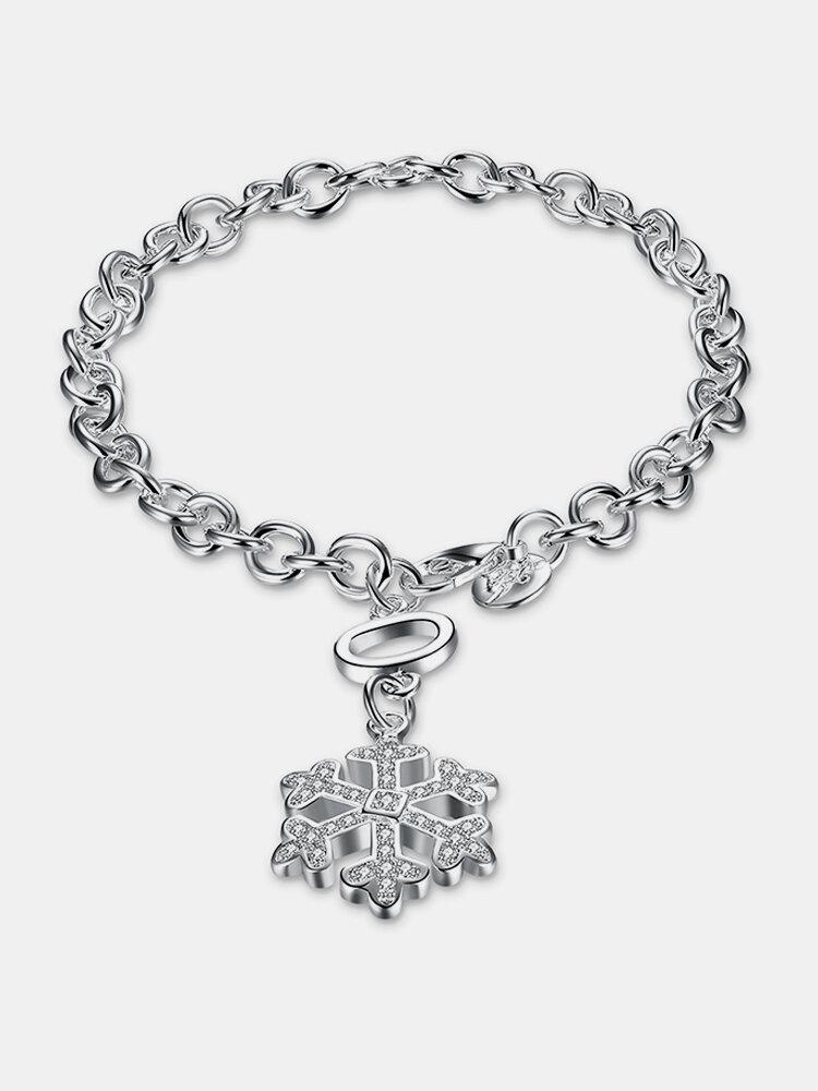 YUEYIN Sweet Bracelet Snowflake Rhinestone Silver Plated Women Bracelet