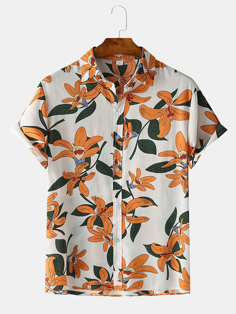 Mens Vintage Floral Oil Printting Short Sleeve Casual Shirts