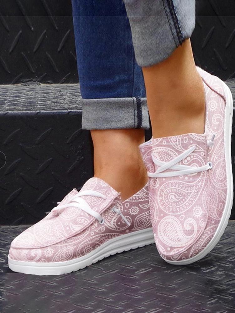 La lona de impresión casual de gran tamaño Mujer ata para arriba los zapatos de los holgazanes de Wedegs