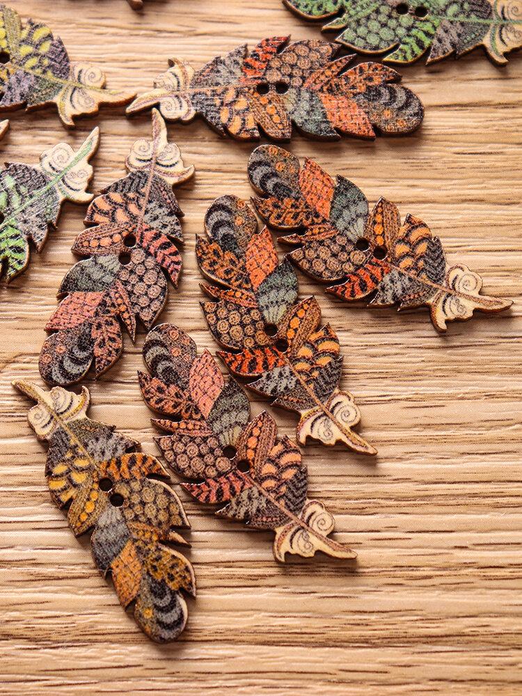 50ピースの羽の形の天然木縫製ボタン堅牢度DIY木製ボタン手芸材料