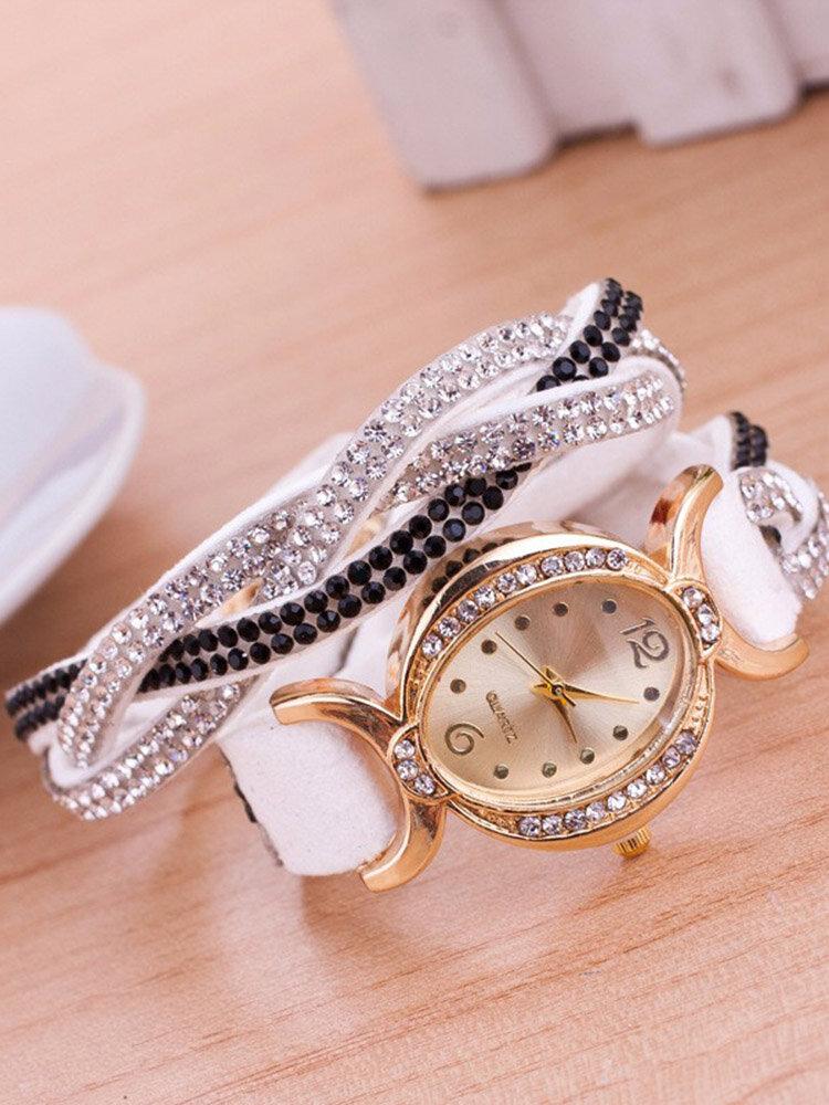 Fashion Colorful Rhinestones Weave Velvet Oval Multilayer Bracelet Watches for Women Girl's Gift