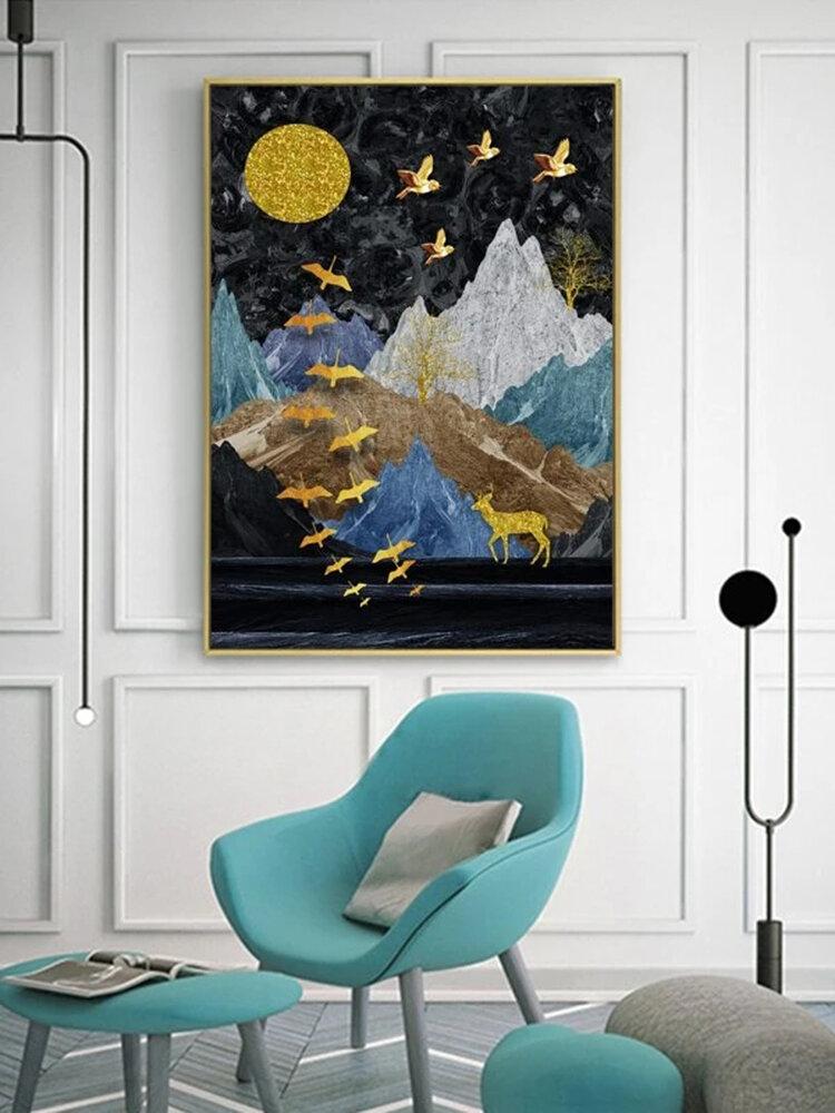 Montagna e animali Stampa Modello Pittura su tela Senza cornice Wall Art Canvas Living Room Home Decor