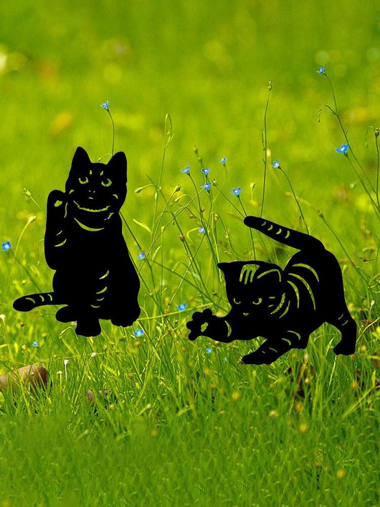 1PC 革新的なアクリルシミュレーション漫画猫屋外の庭の装飾挿入カードアート中空装飾工芸品家の庭の装飾品