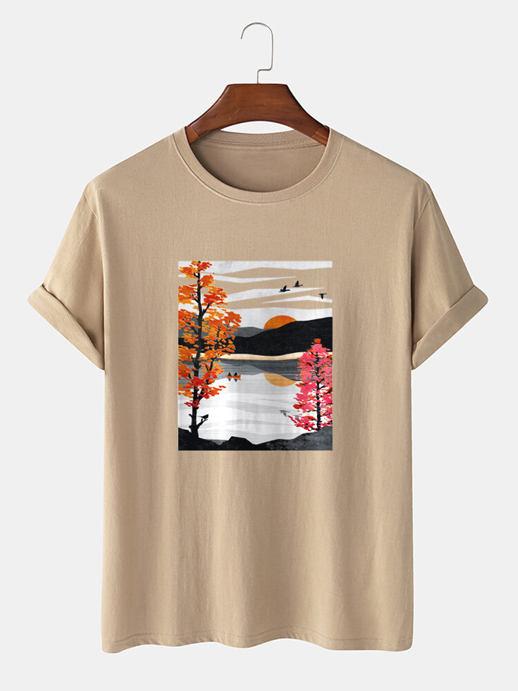 Mens Mountain & River Scenery Graphic Casual 100% Cotton Short Sleeve T-Shirts