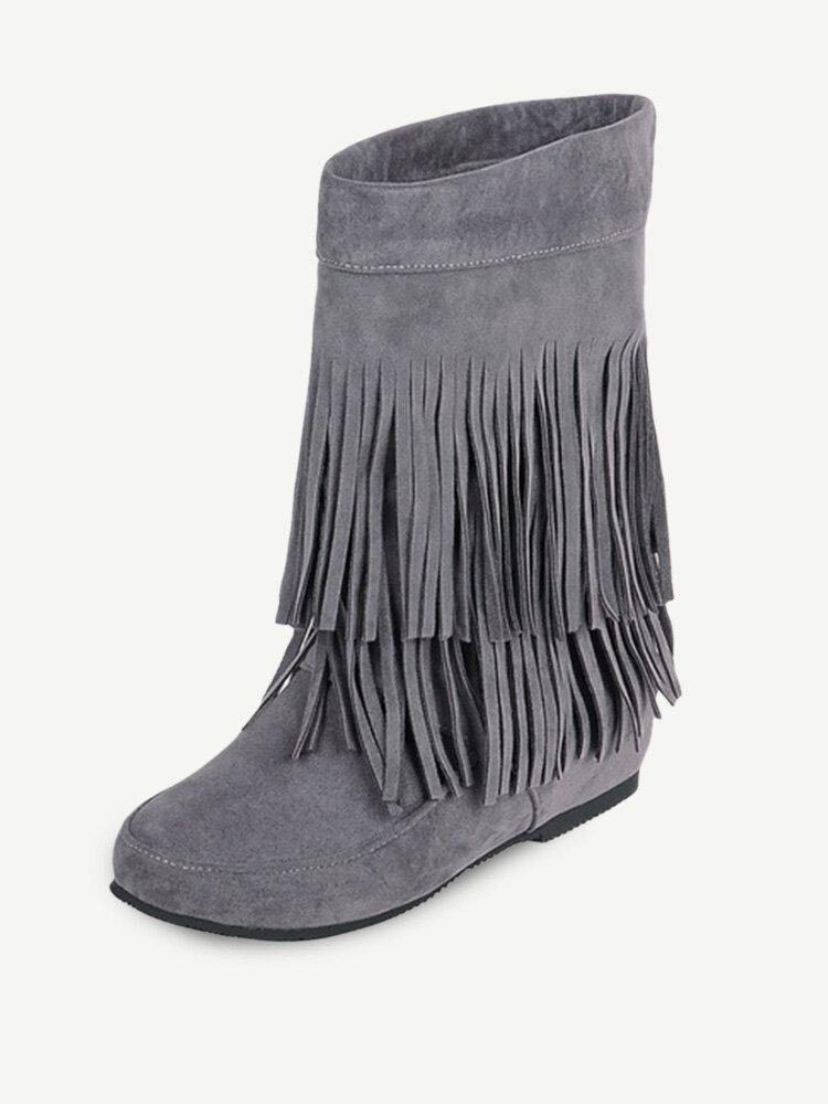 Big Size Tassel Mid Calf Pure Color Slip On Boots