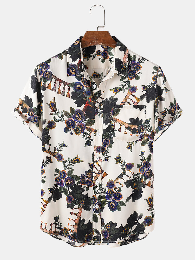 Mens Plant Flower Print Button Up Short Sleeve Holiday Shirts