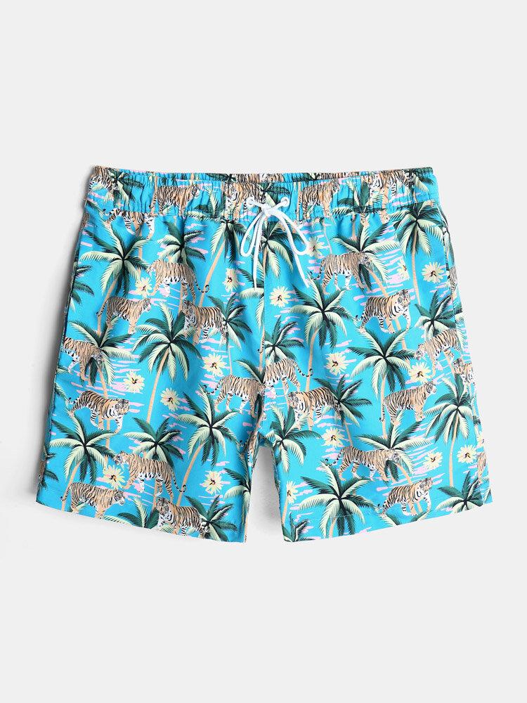 Mens Tropical Animal Print Lined Hawaiian Drawstring Swim Trunks