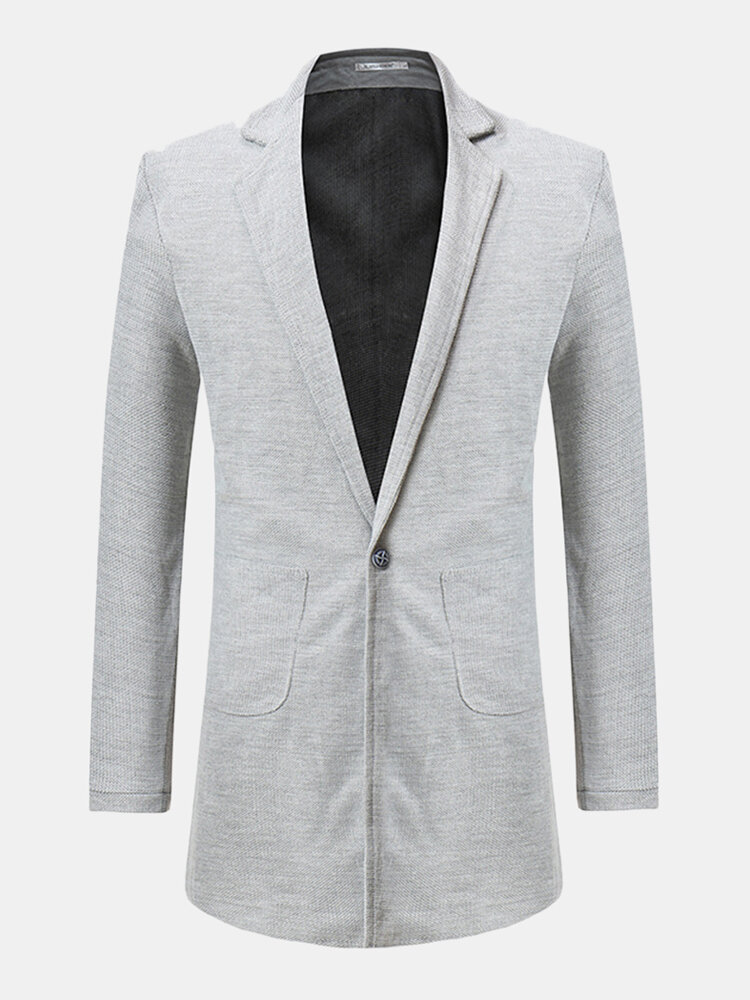 Mens Mid-long Solid Color Single Breasted Casual Business Cotton Trench Coat