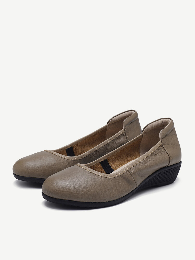 Leather Pure Color  Handmade Wedges Casual Shoes