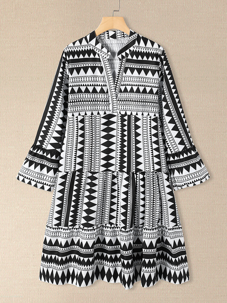 Geometric Bohemia Print Plus Size High Waist Dress