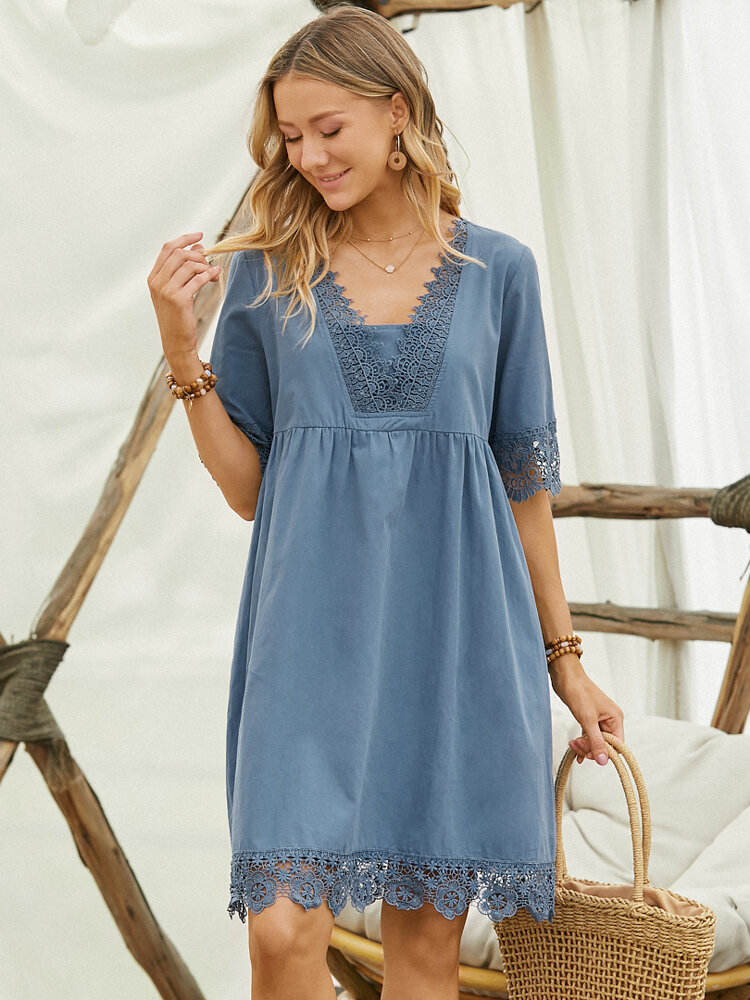Lace Patchwork V-neck Half Sleeve Casual Midi Dress for Women