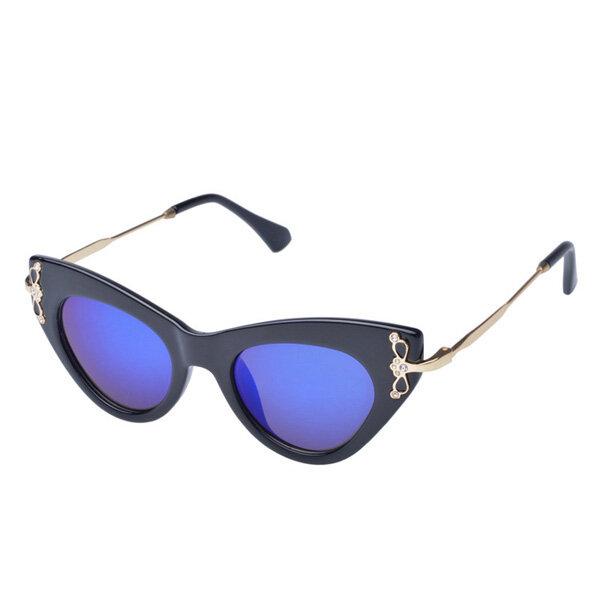 Women Cat-eye Full Frame UV Protection Sunglasses Diamond Decoration Eyewear