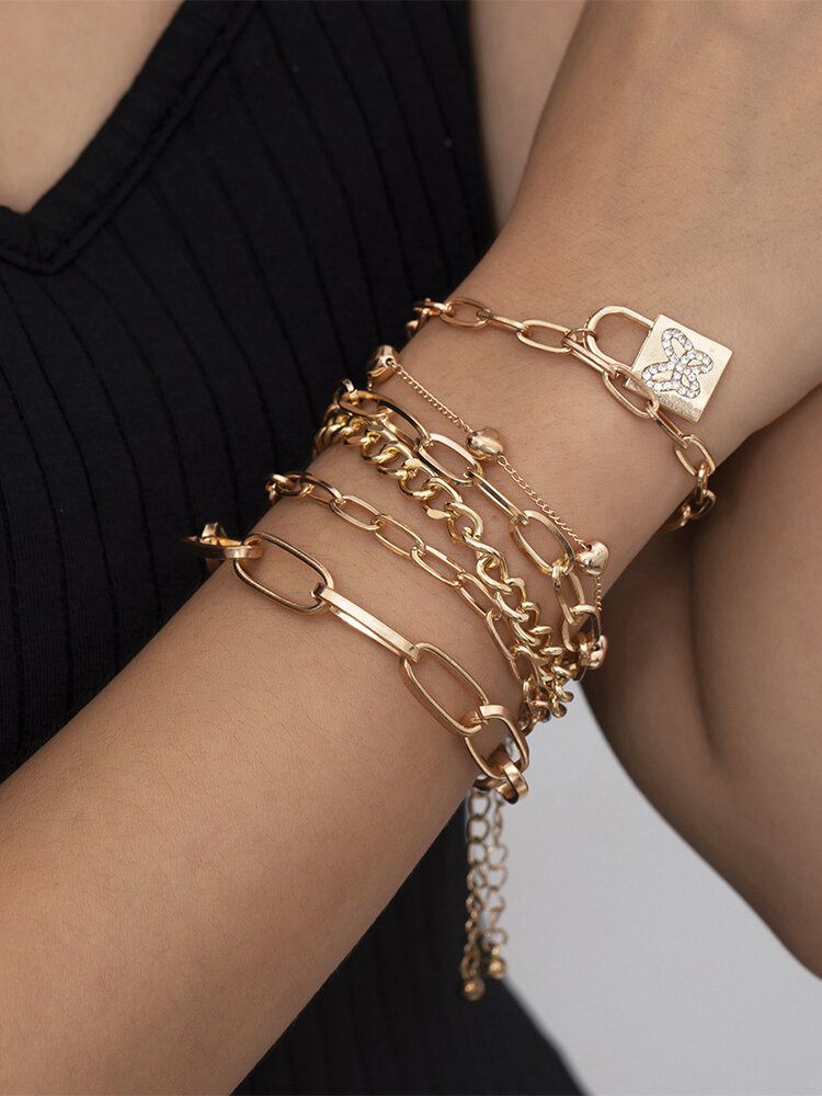 Vintage Complicated Diamond-studded Butterfly Lock-shape Alloy Bracelets Set