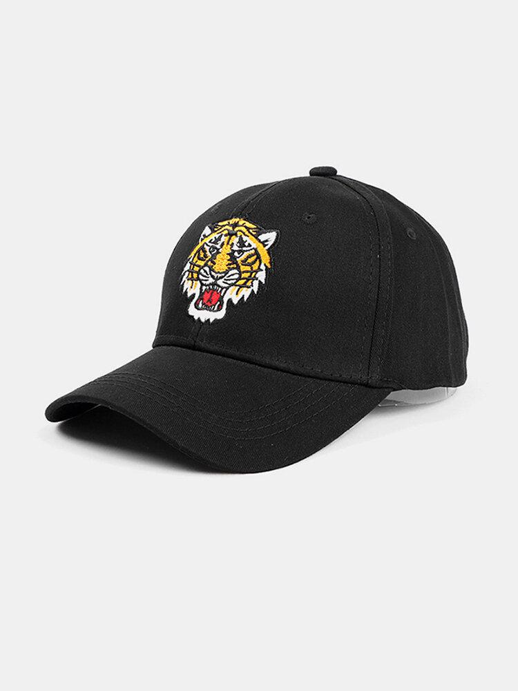 पुरुष कढ़ाई टाइगर पैटर्न बेसबॉल कैप आउटडोर सनशेड समायोज्य टोपी