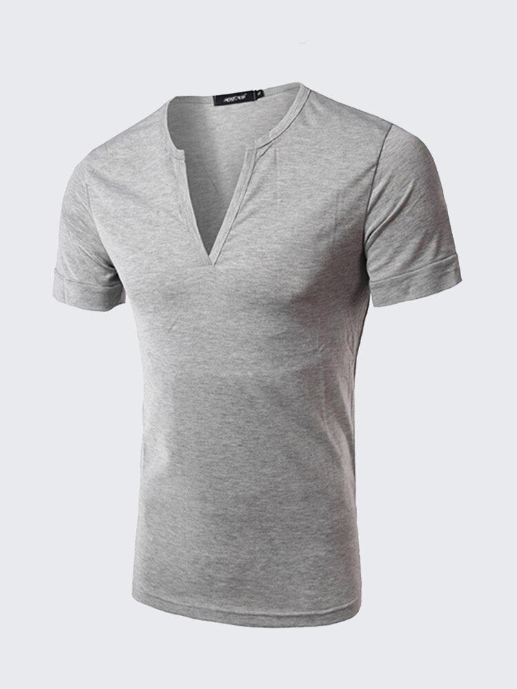 Uomo Casual T-shirt Slim Fit in Cotone con Stile Semplice con Collo V in Colore a Tinta Unita