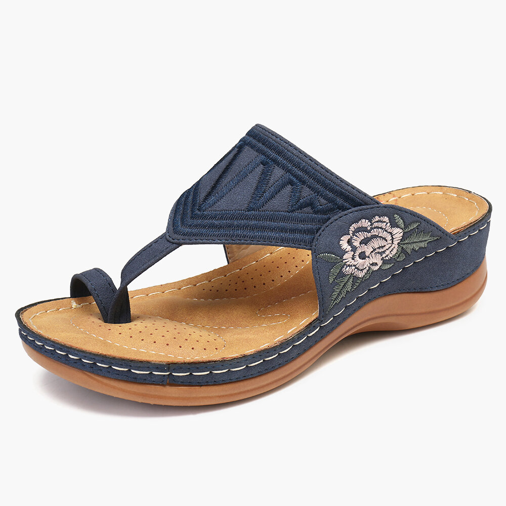 LOSTISY Embroidered Clip Toe Beach Casual Wedges Sandals