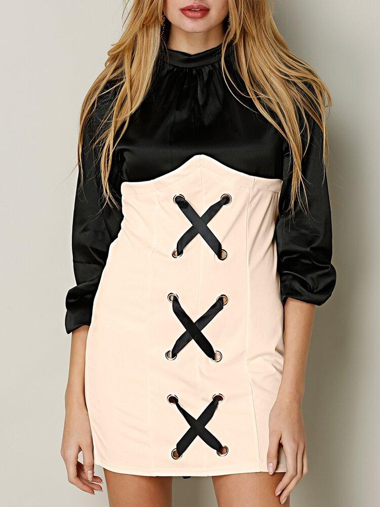 Cross Strap Patchwork Hollow Stand Collar Women Dress