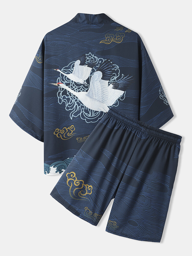 Mens Crane Back Pattern Open Front Kimono Japanese Style Two Pieces Outfits