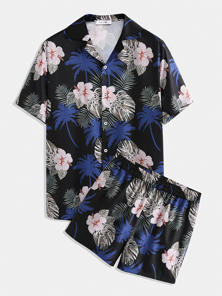 Men Tropic Floral Print Outfits Loose Two Pieces Lapeal Collar Holiday Clothing Loungewear