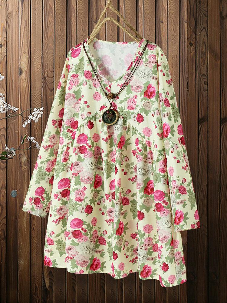 Floral Print V-neck Long Sleeve Plus Size Mini Dress Long Blouse
