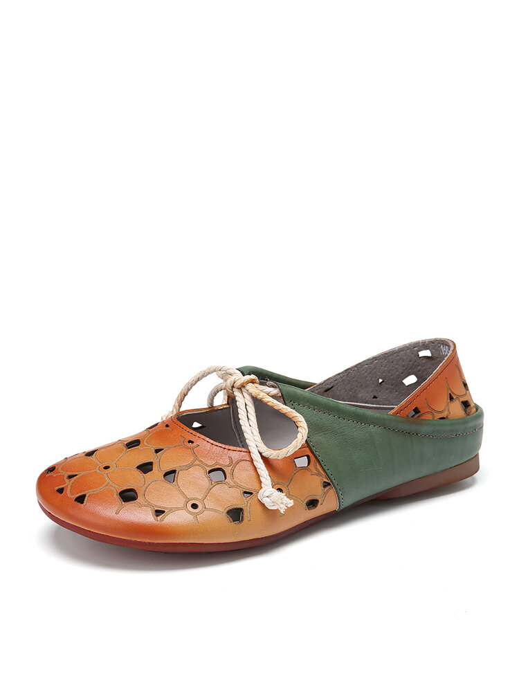 SOCOFY 2 in 1 Comfy Leather Cut out Round Toe Slip-on Mules Lace up Flat Shoes