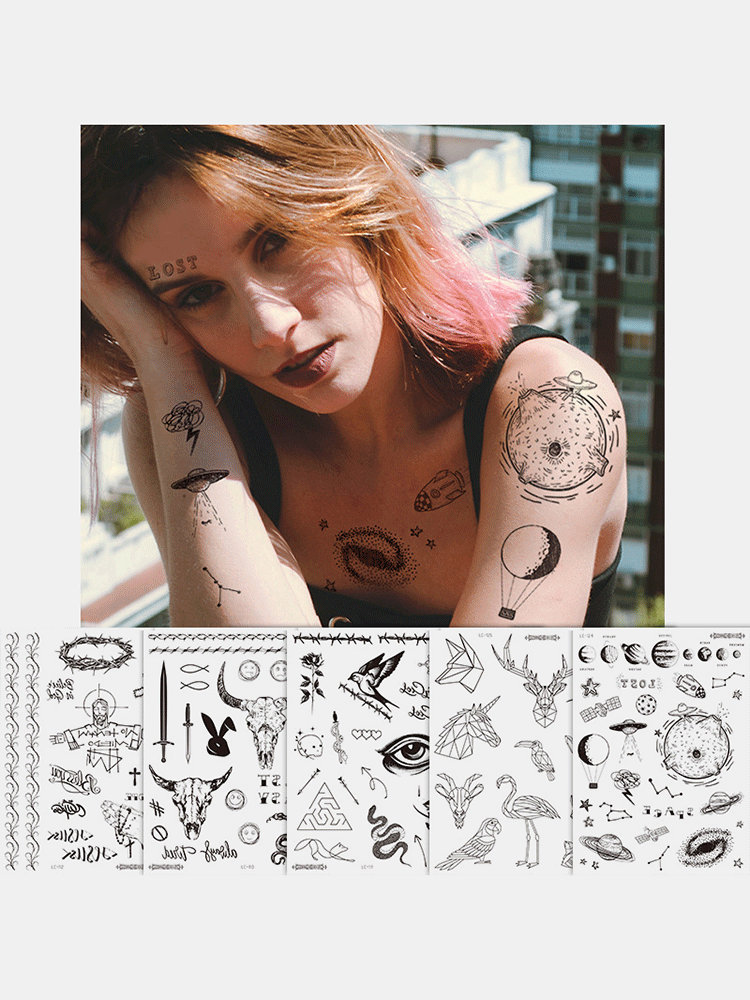 Halloween Face Temporary Tattoo Stickers Waterproof Sweatproof Breathable Art Body Fake Tattoo Transfer Paper