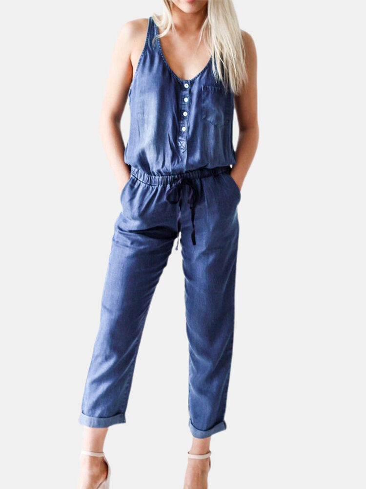 Solid Color Button Pocket Long Sleeveless Casual Jumpsuit for Women