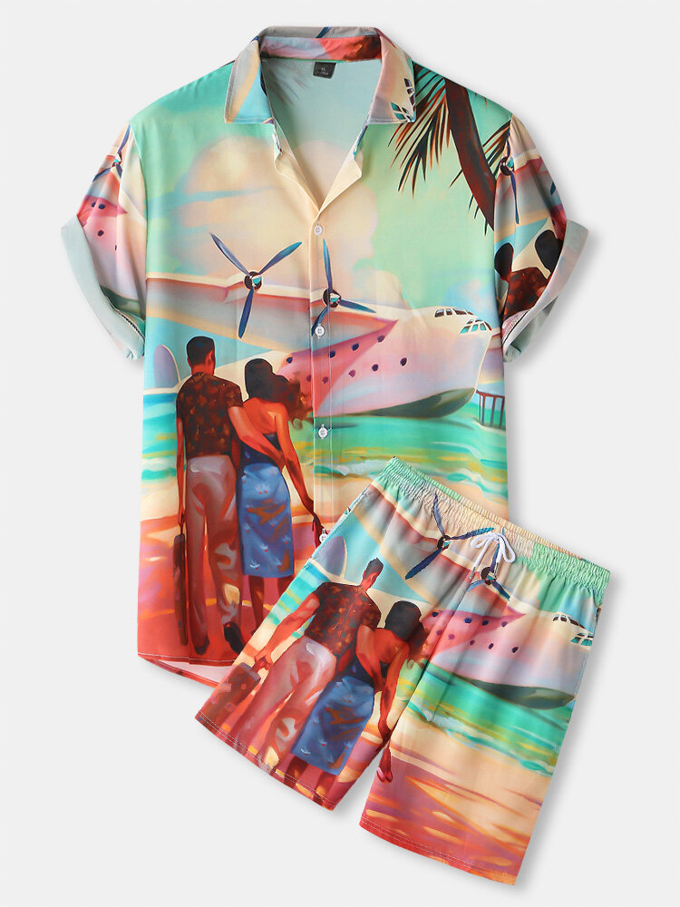 Mens Hawaii Holiday Figure Printed Button Up Drawstring Shorts Two Pieces Outfits