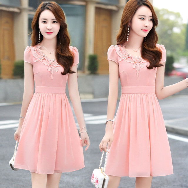 Temperament_Slim_Slimming_Short_Sleeve_Chiffon_Dress