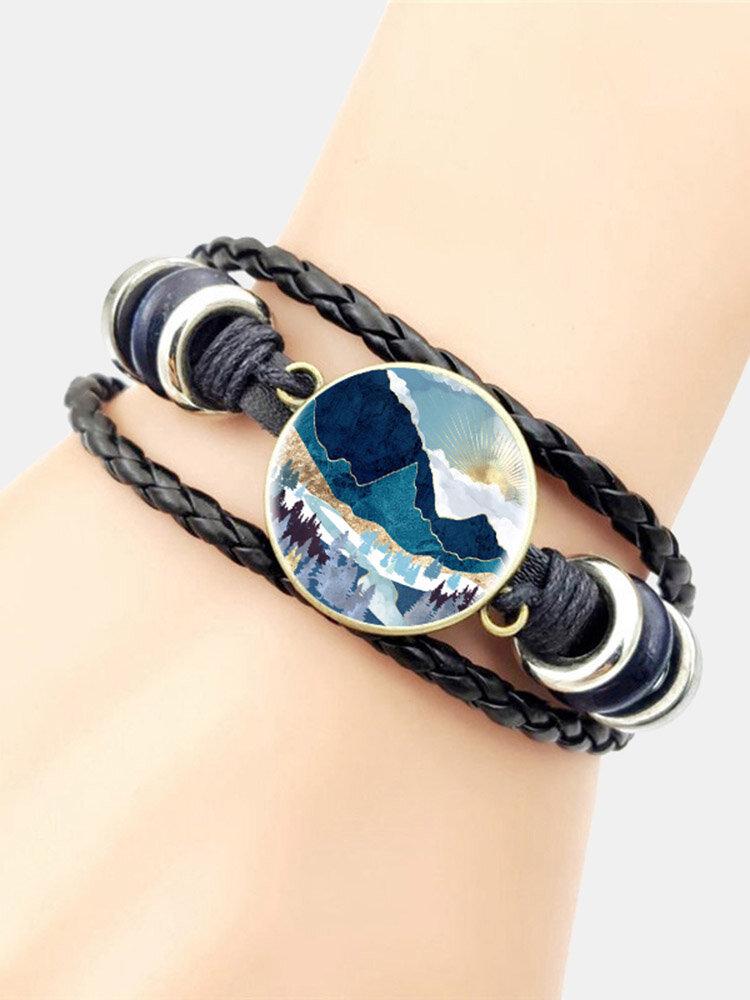 Trendy Metal Round Natural Landscape Print Glass Multi-layer Bracelet