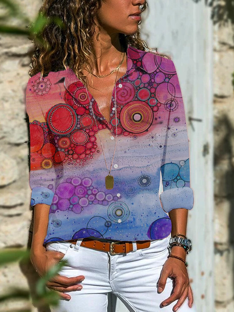 Vintage Ombre Printed Lapel Collar Long Sleeve Button Shirt