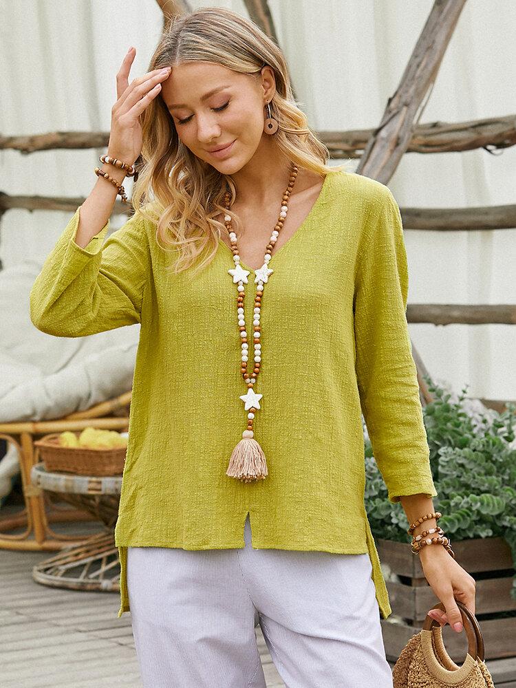 Solid Color Asymmetrical Slit V-neck Long Sleeve Casual Blouse for Women