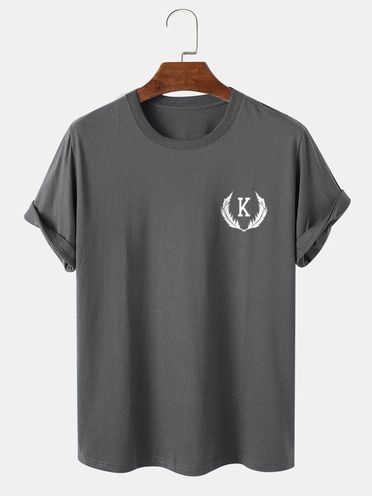 Mens Feather & Letter Print 100% Cotton Short Sleeve T-Shirt