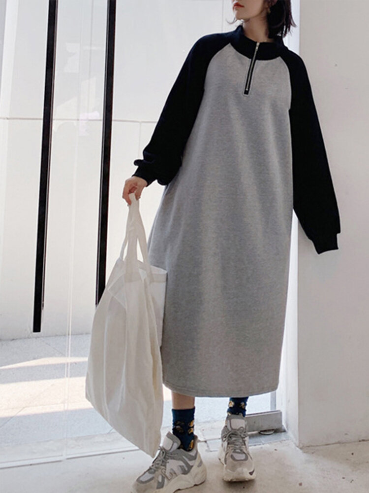 Two-tone Patchwork Long Sleeve Zipper Neck Casual Plus Size Dress